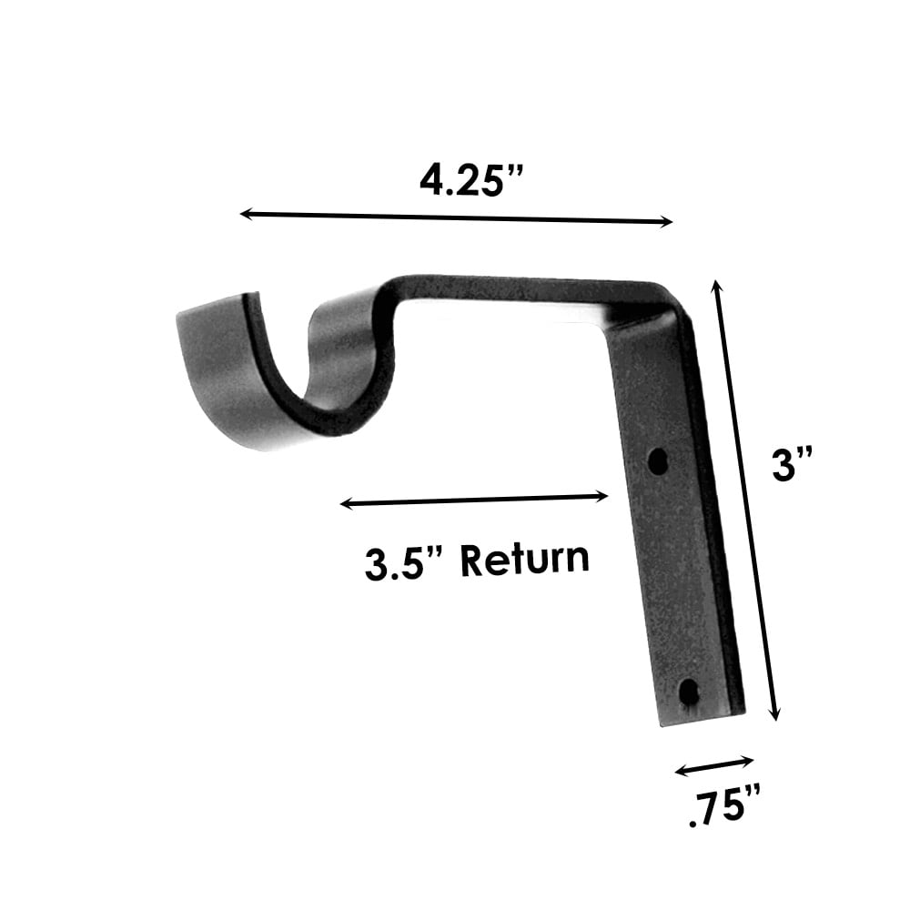 """Sizing for French Rod Standard Support Bracket. 3-1/2"""" Return"""