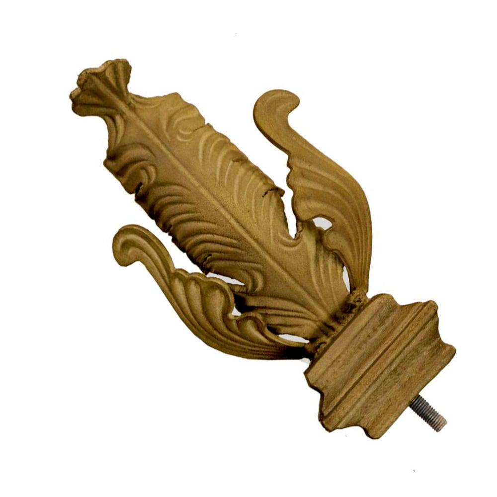 Metal Drapery Finial Pair: Folded Leaf Pair - Flaxen Gold