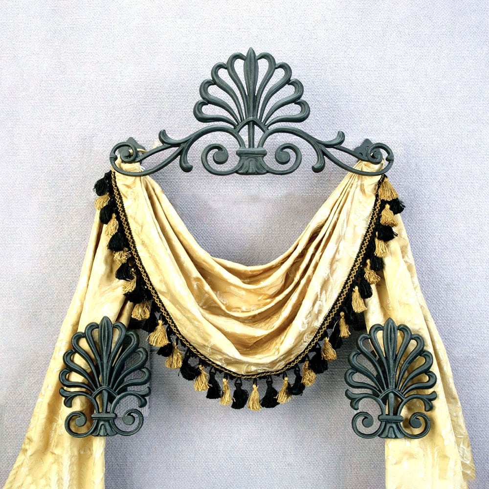 Set/3 Top Treatment W/holdbacks: Peacock Design - Old World Bronze