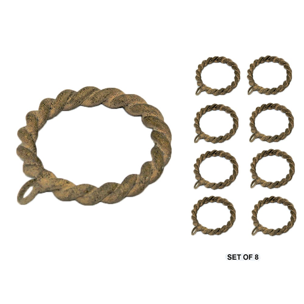 "Set/8 Metal Braided Rings For 1-1/4"" Pole"