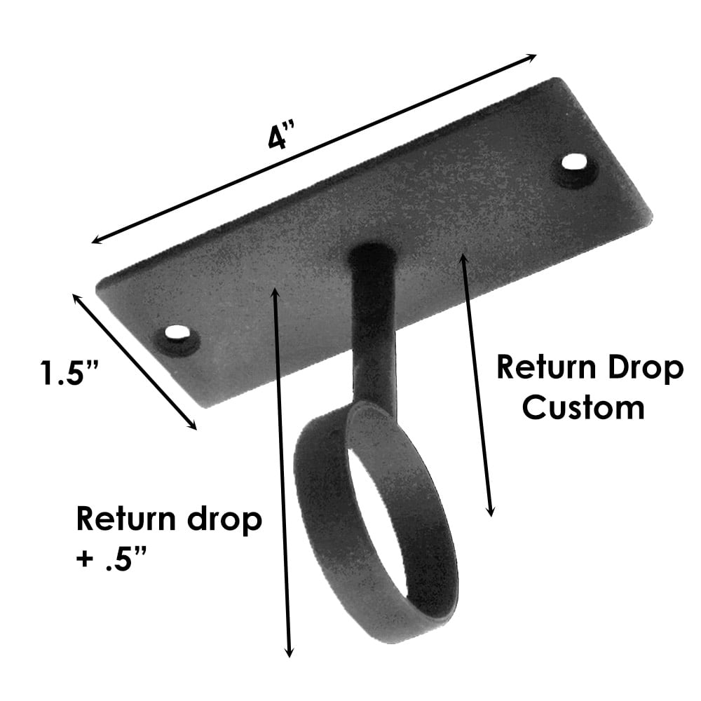 """Sizing for Custom Ceiling Mount Bracket, 5/8"""" (must Specify Drop)"""